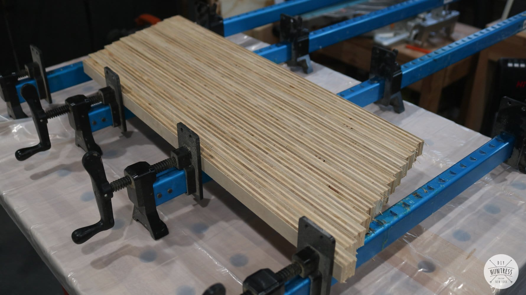 clamping plywood strips
