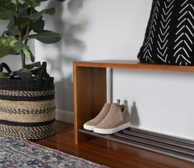 wood bench with metal shelf
