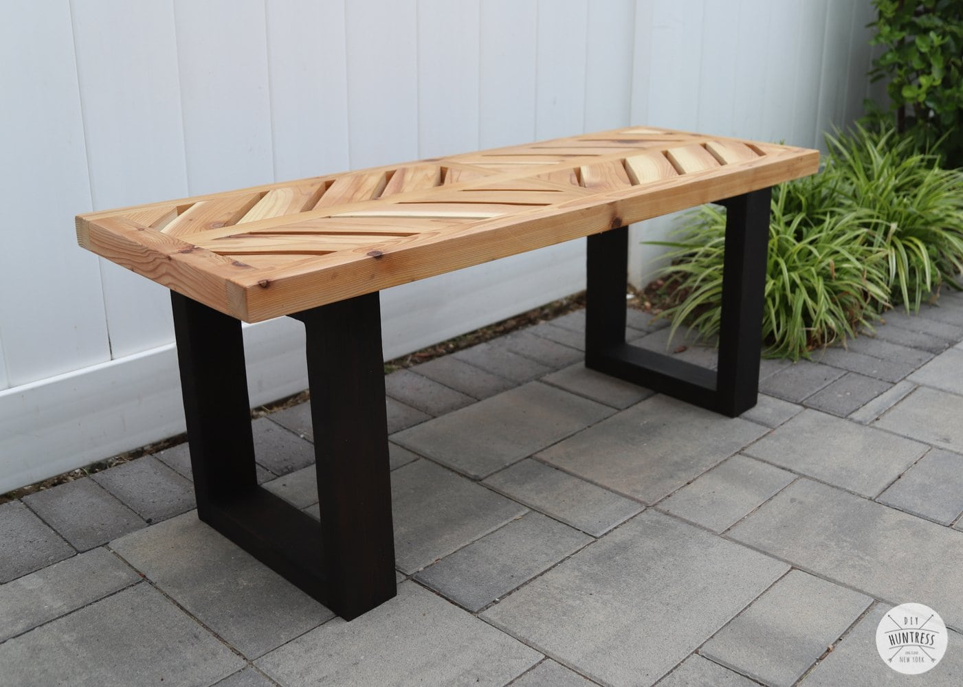 cedar bench with black legs