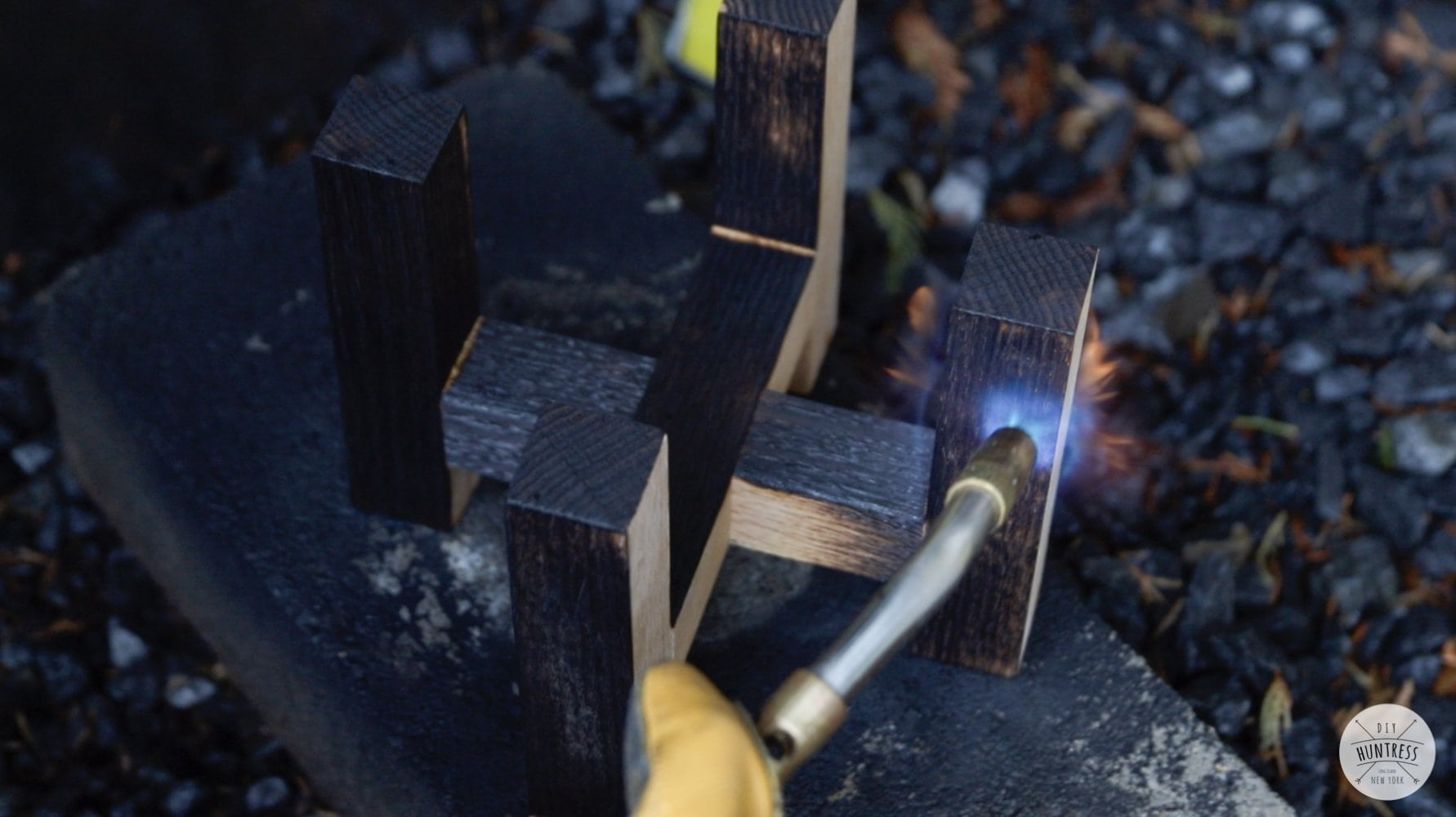 wood torching planters