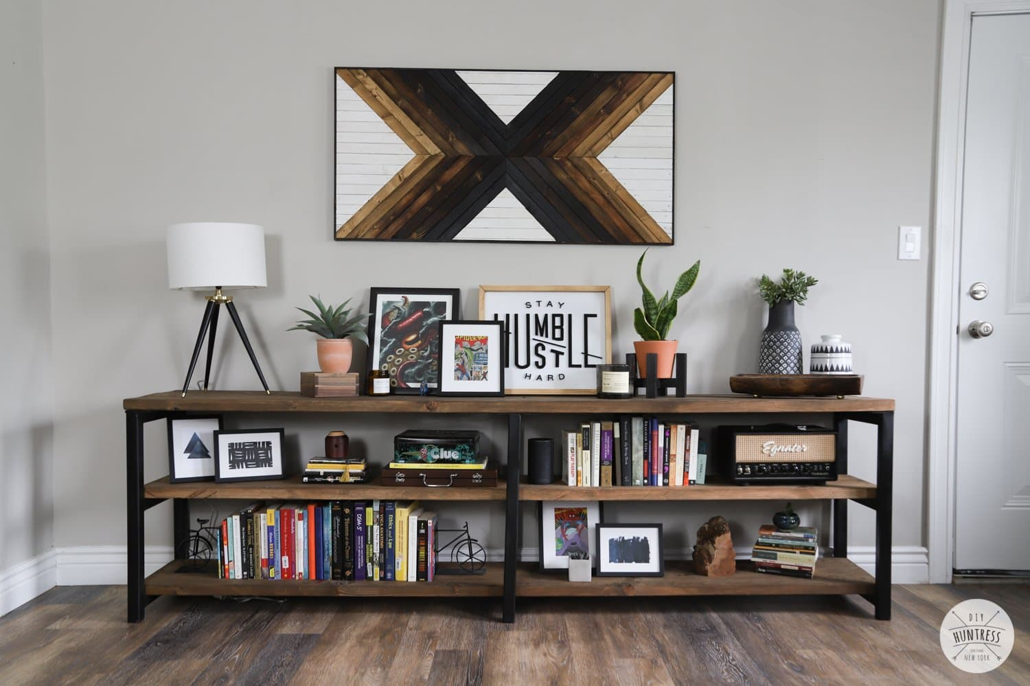 how to make a metal and wood bookshelf