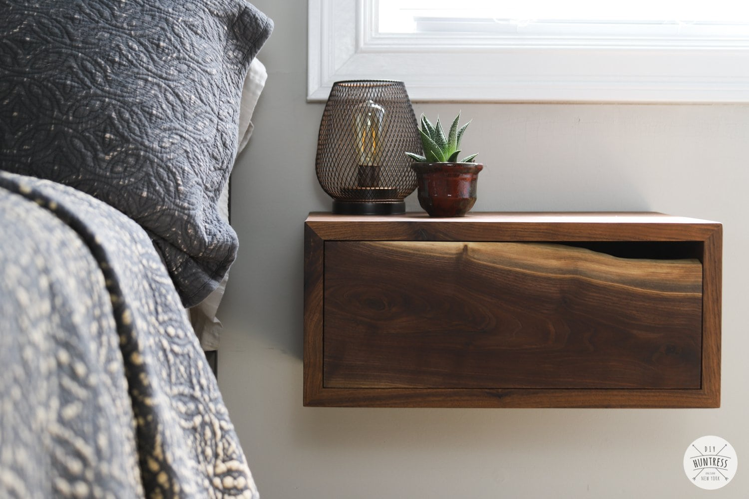 floating nightstand live edge