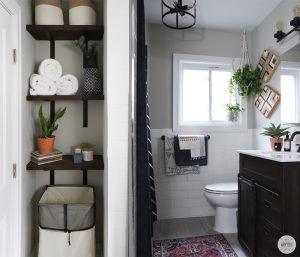 small bathroom makeover renter friendly - diy huntress