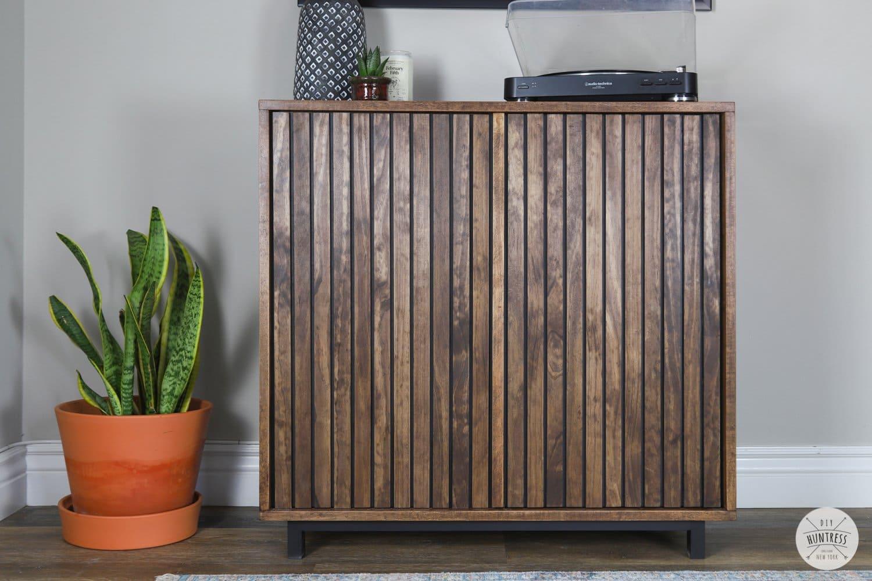 DIY Slat Wood Storage Cabinet