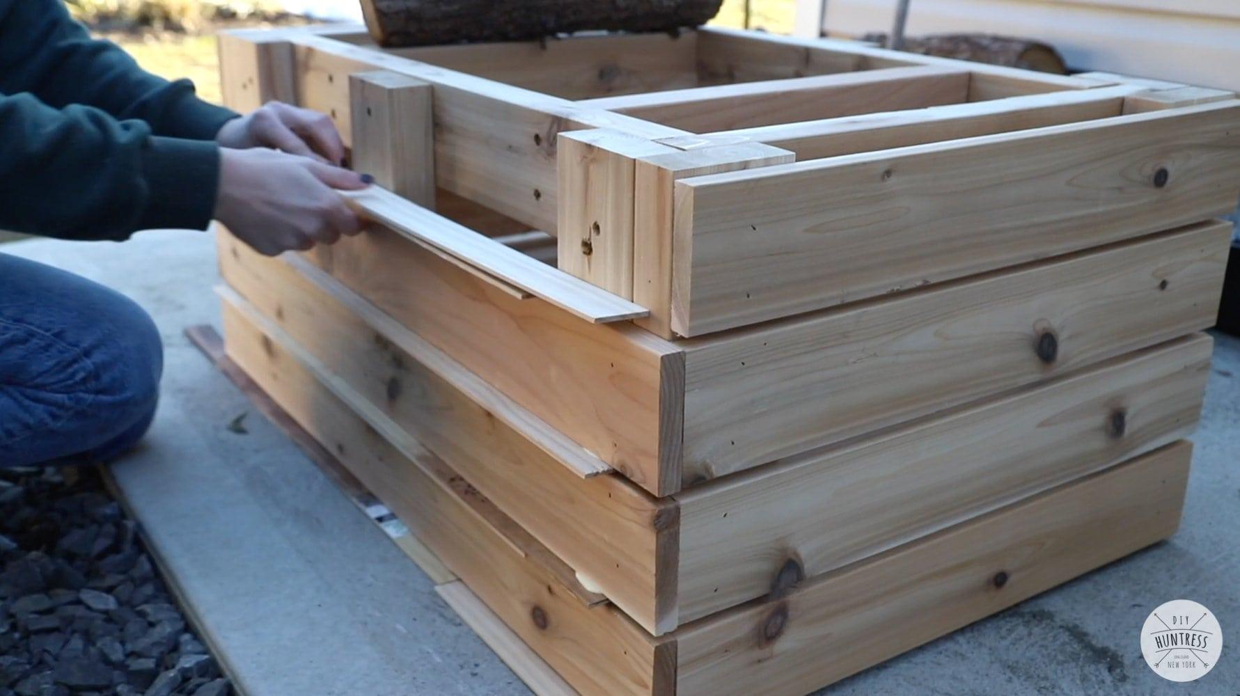 slat wood coffee table