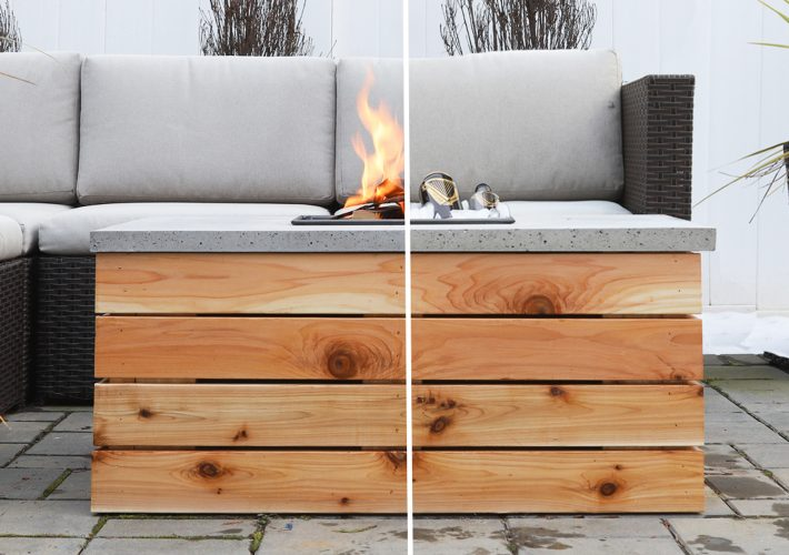 concrete fire pit and cooler table