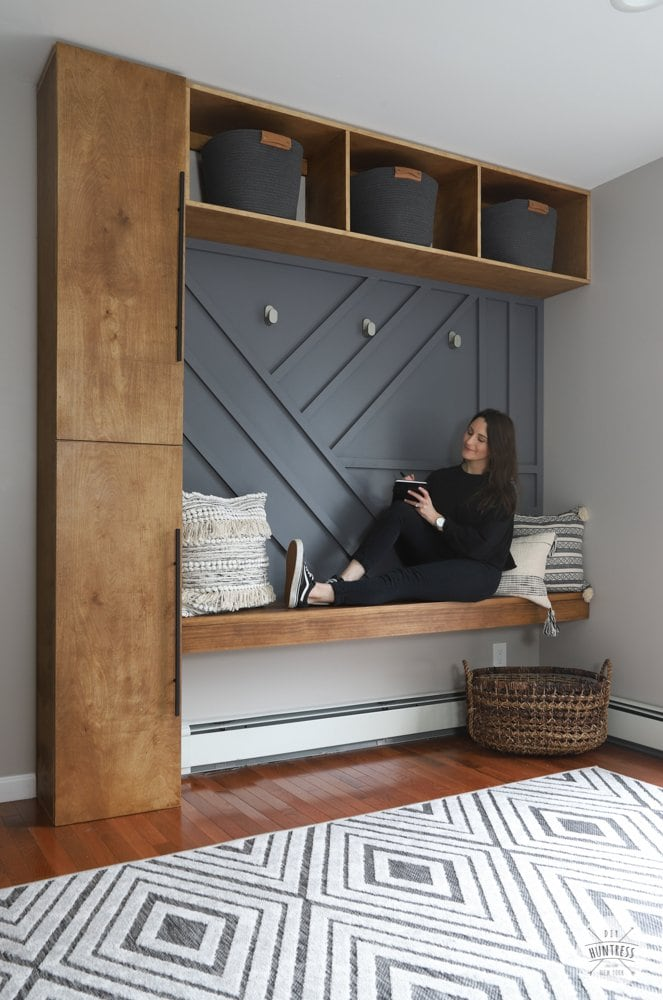 modern entryway storage ideas with bench