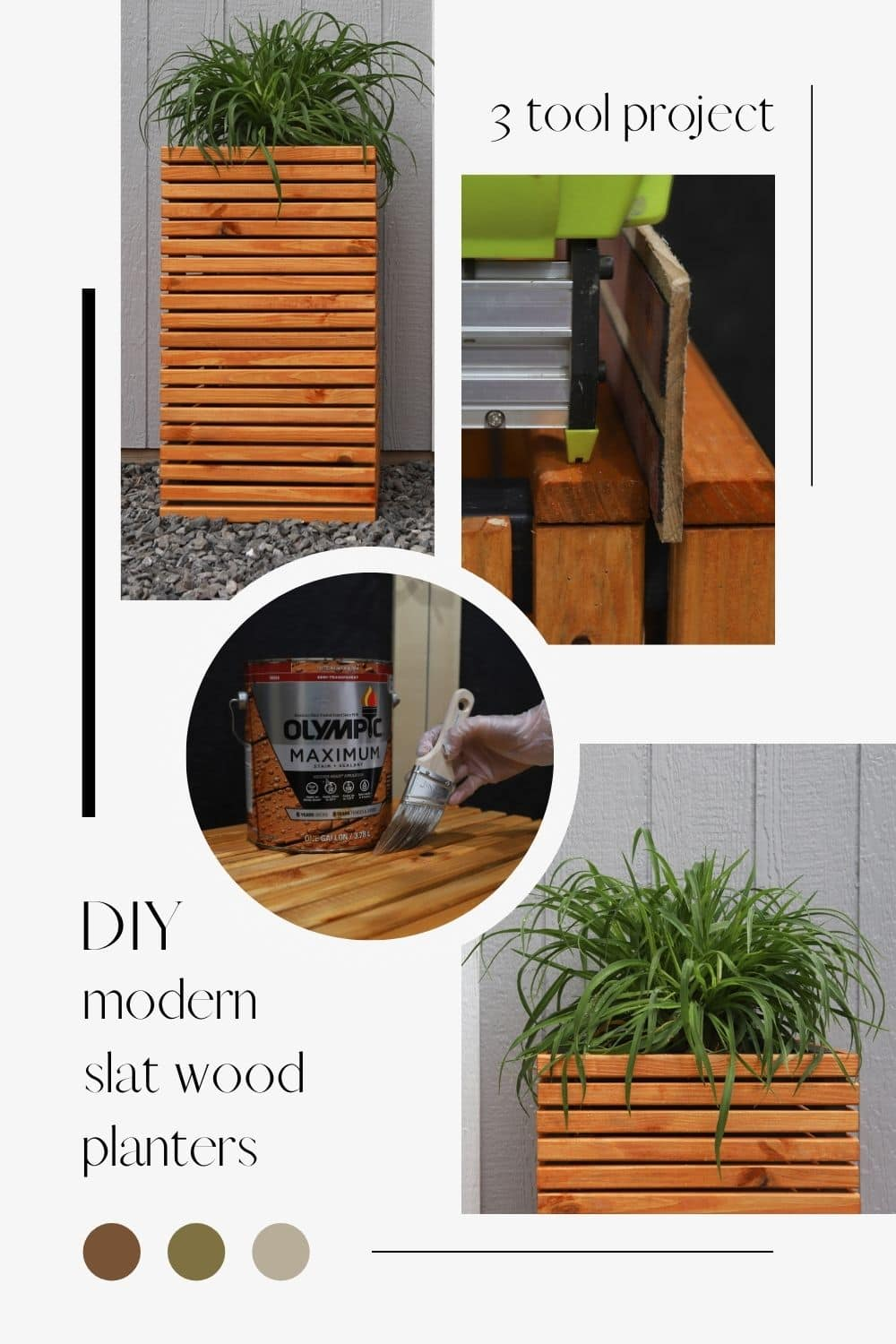 How To Make Modern Slat Wood Planters With 3 Tools