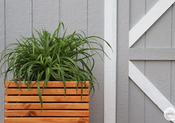modern slat wood outdoor planter