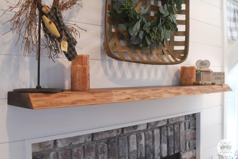 live edge wood fireplace mantle