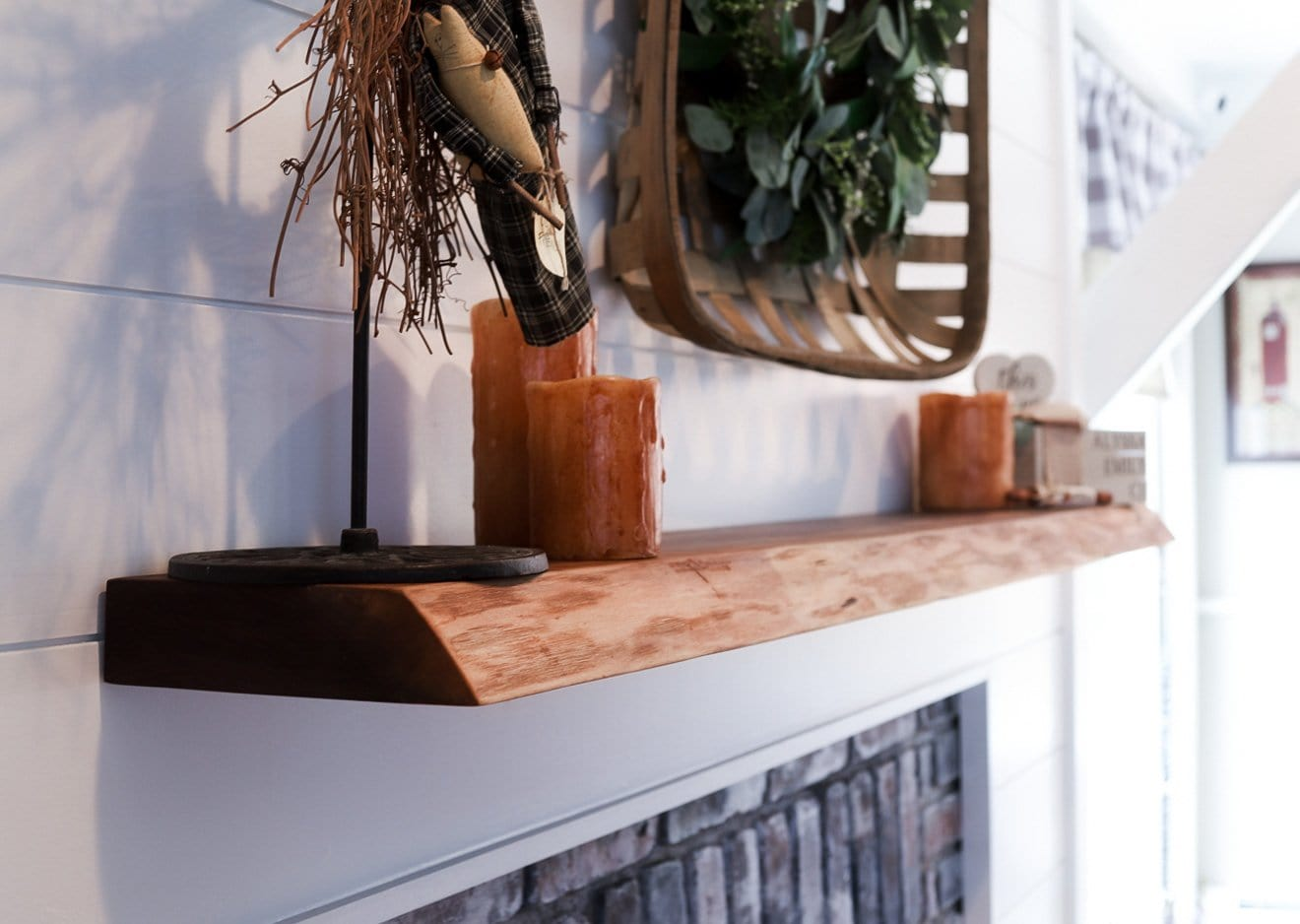 DIY Floating Fireplace Mantel / Live Edge Shelf