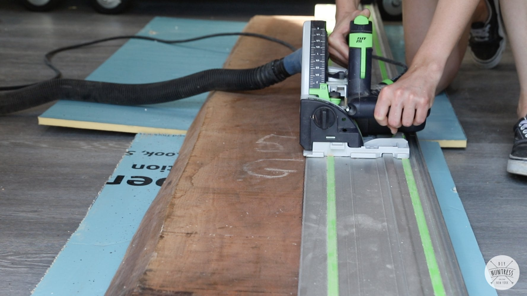 cutting live edge slab with circular saw