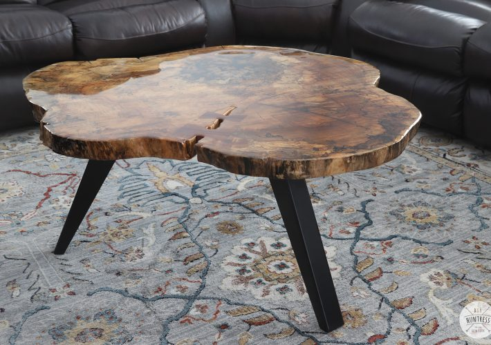 live edge wood coffee table round