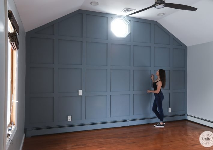 board and batten accent wall in bedroom